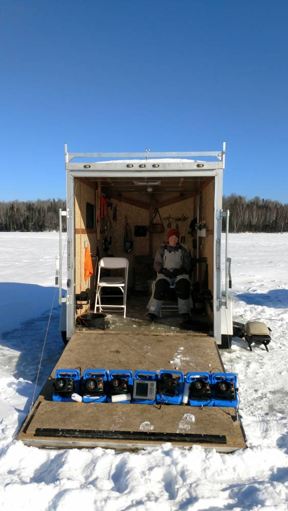 heated ice fishing trailer